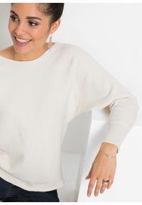 Biały sweter bonprix w prążki, z dekoltem w łódkę