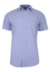 Niebieska koszula casual Just Yuppi na co dzień, z krótkim rękawem