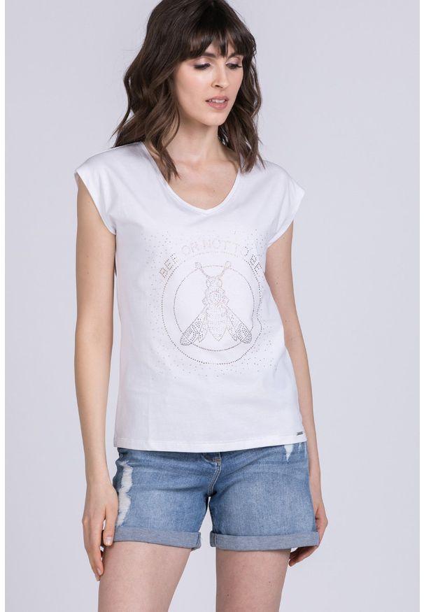 Biały t-shirt Monnari casualowy, na co dzień