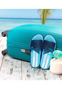LANO - Klapki młodzieżowe basenowe Lano KL-3-6168-9 Blue/Navy. Okazja: na plażę. Zapięcie: bez zapięcia. Materiał: guma. Obcas: na obcasie. Wysokość obcasa: niski. Sport: pływanie