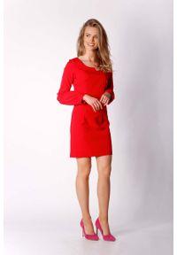 Nommo - Czerwona Klasyczna Mini Sukienka Dzienno-wizytowa. Kolor: czerwony. Materiał: wiskoza, poliester. Styl: wizytowy, klasyczny. Długość: mini