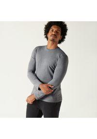 DOMYOS - Koszulka z długim rękawem Gym & Pilates. Kolor: niebieski. Materiał: bawełna, materiał. Długość rękawa: długi rękaw. Długość: długie. Sport: joga i pilates