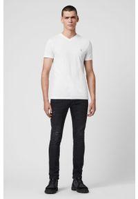 Biały t-shirt AllSaints z aplikacjami, casualowy #5