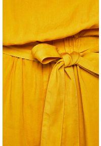 Żółty kombinezon medicine z krótkim rękawem, casualowy, na co dzień