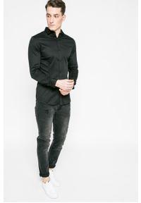 Czarna koszula Premium by Jack&Jones elegancka, długa, gładkie, z włoskim kołnierzykiem