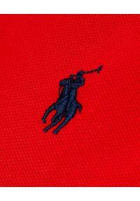 Ralph Lauren - RALPH LAUREN - Koszulka Custom Slim Fit. Typ kołnierza: polo. Kolor: czerwony. Materiał: bawełna. Wzór: haft, aplikacja. Styl: klasyczny