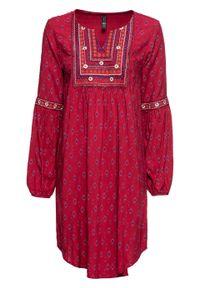 Sukienka z haftem bonprix ciemnoczerwony z nadrukiem. Kolor: czerwony. Wzór: haft, nadruk