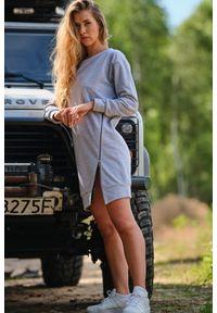 Infinite You - Sportowa Sukienka z Metalowym Zamkiem - Szara. Kolor: szary. Materiał: bawełna, elastan. Typ sukienki: sportowe. Styl: sportowy