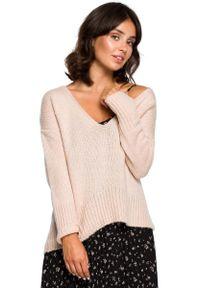 Sweter oversize MOE długi, z dekoltem w serek, elegancki