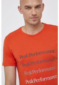 Peak Performance - T-shirt bawełniany. Okazja: na co dzień. Kolor: pomarańczowy. Materiał: bawełna. Wzór: nadruk. Styl: casual