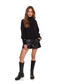 Czarny sweter TOP SECRET z długim rękawem, z golfem, długi