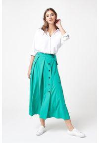 e-margeritka - Długa elegancka spódnica zielona - xl. Kolor: zielony. Materiał: poliester, wiskoza, materiał, elastan. Długość: długie. Wzór: aplikacja. Styl: elegancki