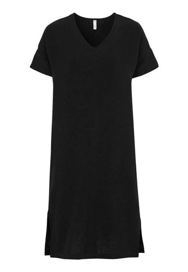 Soyaconcept Sukienka z gniecionej bawełny Polina Czarny female czarny L (42). Typ kołnierza: dekolt w serek. Kolor: czarny. Materiał: bawełna. Długość rękawa: krótki rękaw. Typ sukienki: proste. Styl: elegancki