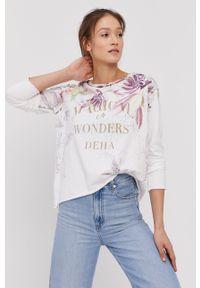 Deha - Bluza bawełniana. Kolor: biały. Materiał: bawełna. Wzór: nadruk