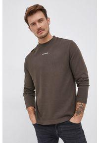 Calvin Klein Jeans - Longsleeve bawełniany. Okazja: na co dzień. Kolor: zielony. Materiał: bawełna. Długość rękawa: długi rękaw. Styl: casual
