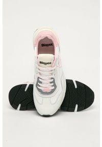 Białe sneakersy Blauer na obcasie, na średnim obcasie, na sznurówki, z okrągłym noskiem