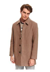 TOP SECRET - Klasyczny płaszcz z kołnierzem z tkaniny z domieszką wełny. Kolor: brązowy. Materiał: tkanina, wełna. Sezon: zima. Styl: klasyczny #3