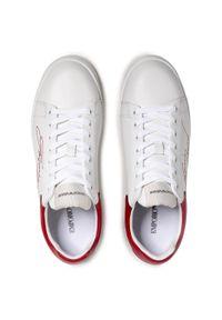 Emporio Armani - Sneakersy EMPORIO ARMANI - X4X264 XM670 N535 Opt.White+Red. Okazja: na co dzień. Kolor: biały. Materiał: skóra ekologiczna, materiał. Szerokość cholewki: normalna. Styl: casual