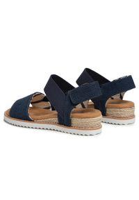 Niebieskie sandały skechers casualowe, na obcasie, na co dzień, na średnim obcasie