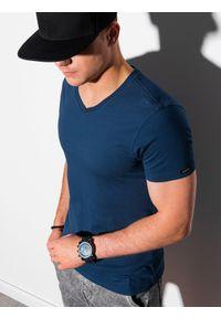 Ombre Clothing - T-shirt męski bawełniany basic S1369 - ciemnoniebieski - XXL. Kolor: niebieski. Materiał: bawełna. Styl: klasyczny #1