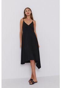 Stefanel - Sukienka. Kolor: czarny. Długość rękawa: na ramiączkach. Typ sukienki: asymetryczne, rozkloszowane