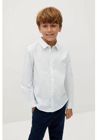 Biała koszula Mango Kids na co dzień, elegancka, długa, z długim rękawem