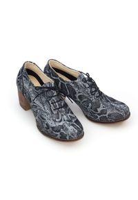 Zapato - sznurowane półbuty na 6 cm słupku - skóra naturalna - model 251 - kolor czarny wąż. Kolor: czarny. Materiał: skóra. Obcas: na słupku