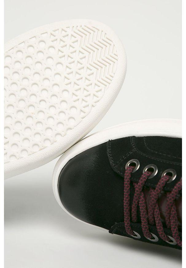 Czarne buty sportowe Wrangler z cholewką, na sznurówki, z okrągłym noskiem
