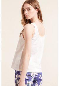 Etam - Top piżamowy Emina. Kolor: beżowy. Materiał: bawełna. Wzór: nadruk