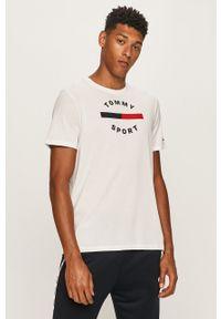 Biały t-shirt Tommy Sport na co dzień, z okrągłym kołnierzem, z nadrukiem