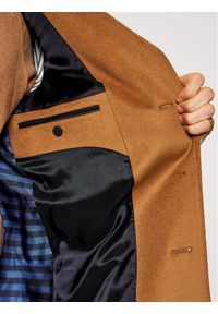 TOMMY HILFIGER - Tommy Hilfiger Tailored Płaszcz wełniany Wool Blend TT0TT08117 Brązowy Regular Fit. Kolor: brązowy. Materiał: wełna #8