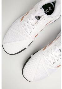 Białe buty sportowe adidas Performance na fitness i siłownię, na sznurówki, z cholewką