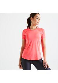 DOMYOS - Koszulka fitness Domyos FTS 500. Kolor: wielokolorowy, czerwony, różowy. Materiał: poliester, elastan, materiał. Sport: fitness