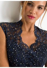 Niebieska sukienka bonprix z aplikacjami, elegancka