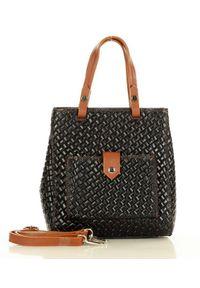 MAZZINI - Czarny Skórzany Kuferek Na Ramię Messenger Bag. Kolor: czarny. Materiał: skórzane. Rodzaj torebki: na ramię