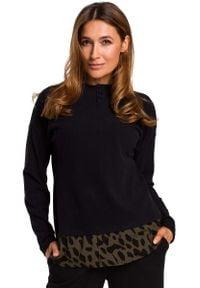 MOE - Czarny Uroczy sweter z Ozdobnymi Guzikami. Kolor: czarny. Materiał: wiskoza
