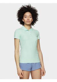 4f - Koszulka polo damska. Okazja: na co dzień. Typ kołnierza: polo. Materiał: bawełna, jersey, dzianina, materiał. Styl: casual