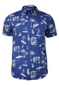 Niebieska koszula casual Brave Soul z krótkim rękawem, na lato, krótka