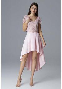 Figl - Różowa Dwuczęściowy Zestaw Koronkowa Bluzka + Asymetryczna Spódnica. Kolor: różowy. Materiał: koronka. Typ sukienki: asymetryczne