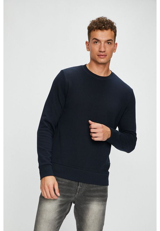 Niebieska bluza nierozpinana Jack & Jones casualowa, gładkie, bez kaptura, na co dzień