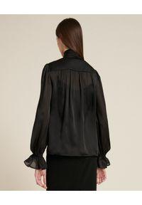 Luisa Spagnoli - LUISA SPAGNOLI - Koszula z wiązaniem pod szyją Loredana. Kolor: czarny. Materiał: jedwab, szyfon. Długość rękawa: na ramiączkach. Długość: długie