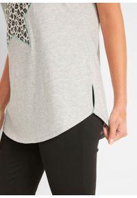 T-shirt z aplikacją bonprix jasnoszary melanż - zielony oceaniczny leo. Kolor: szary. Wzór: aplikacja, melanż #3
