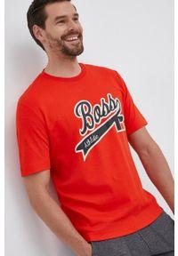 BOSS - Boss - T-shirt bawełniany Boss x Russell Athletic. Kolor: pomarańczowy. Materiał: bawełna. Wzór: nadruk