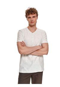 TOP SECRET - T-shirt krótki rękaw męski z aplikacją. Okazja: na co dzień. Typ kołnierza: dekolt w serek. Kolor: beżowy. Materiał: tkanina, materiał, jeans. Długość rękawa: krótki rękaw. Długość: krótkie. Wzór: aplikacja. Styl: casual