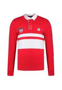 Czerwona koszulka polo North Sails długa, z długim rękawem, sportowa