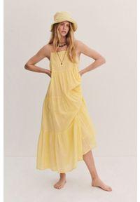 mango - Mango - Sukienka COTTON. Kolor: żółty. Materiał: bawełna, materiał. Długość rękawa: na ramiączkach. Typ sukienki: rozkloszowane