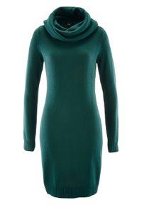 Sukienka dzianinowa z golfem bonprix niebieskozielony. Typ kołnierza: golf. Kolor: niebieski. Materiał: dzianina. Długość rękawa: długi rękaw