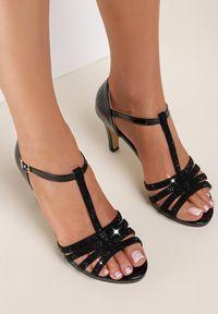 Renee - Czarne Sandały Zelipe. Kolor: czarny. Materiał: lakier
