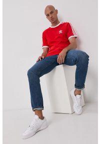 adidas Originals - T-shirt bawełniany. Okazja: na co dzień. Kolor: czerwony. Materiał: bawełna. Wzór: gładki. Styl: casual