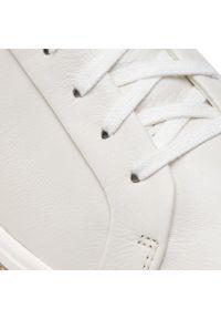 Białe buty sportowe Clarks z cholewką, na płaskiej podeszwie